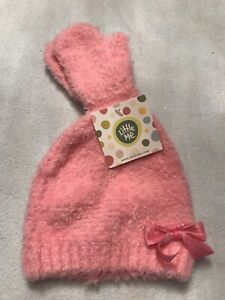 Little Me Pink Hat With Bow And Gloves Warm Super Soft 12-24 Months