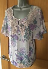 INDIGO COLLECTION @ M&S Tape-work LILAC Print FLORAL Blouse Top UK size 12