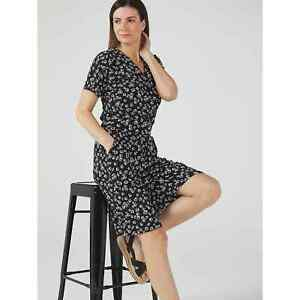 Black Floral Kim & Co Falling Sleeve Culotte Jumpsuit with Pockets - Medium  New