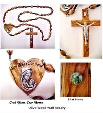 Stunning Hand Made Home Olive Wood Wall Rosary with Holy Land Stone