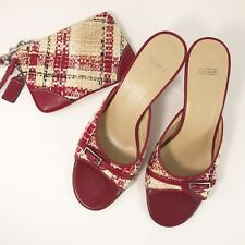NEW Coach Faylyn Red Leather & PLAID Shoes Heels Matching Wristlet Wool 7