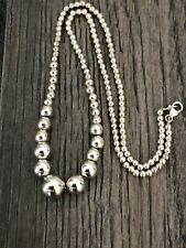 """Multi Size Sterling Silver Bead Ball Necklace 17"""" 13gr"""