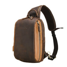 Retro Men's Leather Sling Chest Bag Backpack Sports Shoulder Bag w/USB Interface