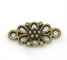 BD 100 Bronze Tone Flower Connectors Findings 16x8mm