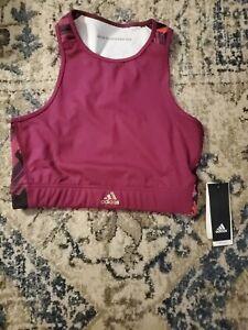 NWT Women's Adidas x Zoe Saldana High Neck Maroon Racerback Sports Bra Size M