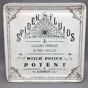 """222 Fifth HALLOW APOTHECARY Halloween Serving Platter Tray 14"""" Spider Witch NEW"""