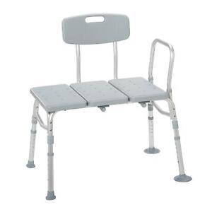 Drive Medical 12011KD-1 Plastic Tub Transfer Bench w/ Adjustable Backrest ,Grey