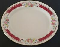 Homer Laughlin Oval Serving Platter Roses Multicolor Floral Red Trim 13 1/2""