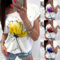 Summer Women Casual Floral Print O-Neck  Short Sleeve Loose T-Shirt Tops Blouse
