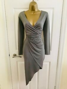 LIPSY Silver Grey Evening Party Occasion Races Long Sleeve Ruched Midi Dress £70