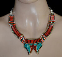 Asian Sterling Silver Necklace Handmade Real Turquoise Coral Classic UDD10