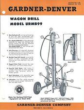 Equipment Brochure - Gardner-Denver - Urmb99 - Wagon Drill Mining c1962 (E3571)