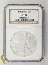 2005 Silver 1 oz American Eagle $1 NGC Graded MS69