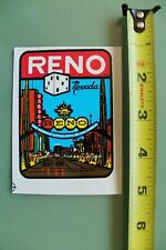 New listing Reno Nevada Vegas Dice Gambling V12 Vintage 1960's Water Transfer Window Decal