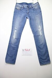 Diesel Lowky Destroyed (Cod.U723) W29 L32 Jeans Taille Basse Slim Fit Utilisé