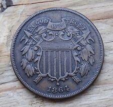 United States 2 Cents Coin~1864 Union Sheild~Brass 6.22g~KM#94~VFine~#544