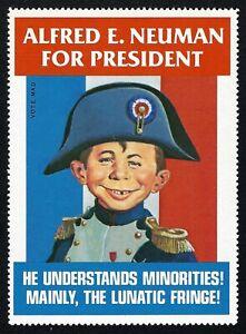 MAD Magazine Alfred E. Neuman For President Napoleon Trump Biden Sticker Stamp !