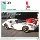 DIVA GT 1963 CAR VOITURE Great Britain GRANDE BRETAGNE CARTE CARD FICHE