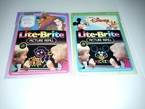 Vintage DISNEY Characters Lite Brite Picture Refill Pages Beauty & the Beast