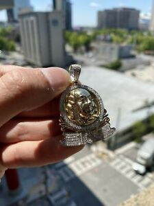 10K Solid Yellow Gold and Diamond 1.20 CT Ben Franklin 100 Pendant w/ 10K Chain