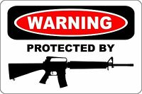 "Warning Protected By AR-15 18"" x 12"" Metal Novelty Sign Aluminum"