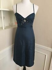 Rebecca Taylor Blue Silk Floral Rhinestone Dress Size 6