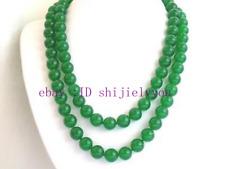 "Charming handmade 10mm round green jade beads necklace 50"""