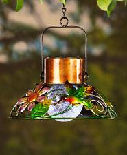 Stunning Solar Porch Patio Hummingbird Garden Lamp w/ Crackled Glass Bulb
