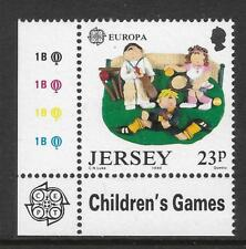 JERSEY 1989 EUROPA Single Value Shows CRICKET and RUGBY Lower Left CORNER MNH