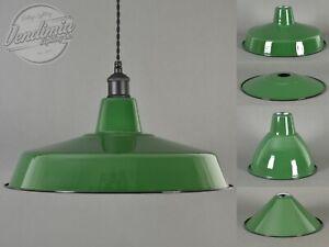 Factory Green Classic Vintage Industrial Factory Enamel Light Shade Pendant