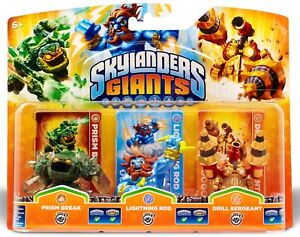 Skylanders Giants Triple Pack E PRISM BREAK LIGHTNING ROD DRILL SERGEANT - BNIP
