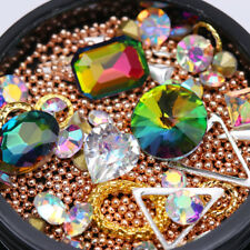Rose Gold Caviar Beads AB Color Nail Rhinestone Metal Studs Alloy Chain 3D Decor