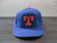 VINTAGE Texas Rangers Hat Cap Fitted 7 1/4 Blue Red Wool MLB Baseball Mens 90s