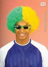 Two Tone Green & Yellow Curly Afro Wig Brazilian Brazil Fancy Dress