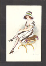 FRENCH POSTCARD:  GLAMOUR GIRL SITTING - SIGNED FABIANO - Unused, c.1910