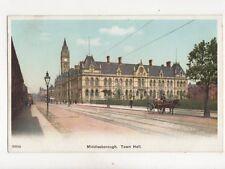 Middlesbrough Town Hall Vintage Postcard 186b