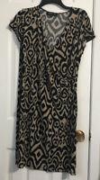 Jones New York Signature Black Tan Dress Cap Sleeves  Size Large