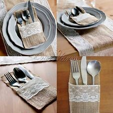 10×Natural Burlap Knifes Fork Holders Cutlery Pouch Wedding Tableware Bags Favor