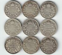 9 X CANADA TEN CENTS DIMES KING GEORGE V STERLING SILVER COINS 1913 - 1921