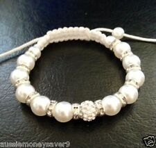 Handmade Shamballa Pearl Friendship Bracelet Silver crystal Pearl ADJUSTABLE