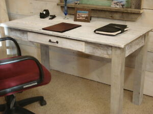 "White washed Driftwood Desk (50""x24""x30H) Square legs"