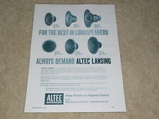 Altec 1956 Ad, 1 page, 604c, 602a, 601a, 415a,412a, 408a, Article