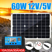 60W 12V Solar Panel USB Battery Charger Car RV Boat Home+10/20/30/40A