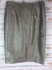 New Worthington Gold Metallic Skirt Sz 16 Evening Holiday Shiny Knee Length Q1