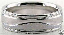 18K White Gold Men's Wedding Band Milgrain Comfort Fit Mans Carved Ring Men 6mm