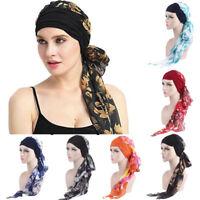 US Sale Women India Muslim Elastic Turban Chiffon Long Tail Hat Head Scarf Wrap