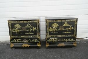 Chinoiserie Hollywood Regency Asian Pair of Painted Large Nightstands 2095