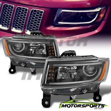 [LED Bar] 2014 2015 2016 Jeep Grand Cherokee LED Projector Black Headlights  Pair