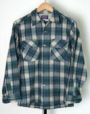 New listing Vintage Pendleton Wool Board Shirt Blue/Green Plaid Loop Collar Flap Pocket Sz M