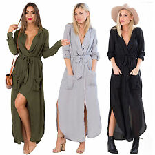Womens Chiffon Long Sleeve Split Maxi Shirt Dress Evening Party Casual Sundress